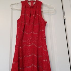 Red lace dress with nude underlay